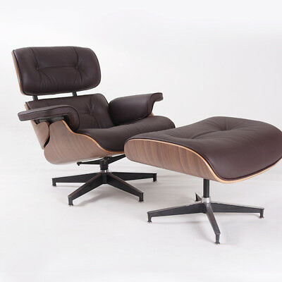 Dark Brown Leather Chair (Eams Chair & Ottoman Dark Brown Leather, Walnut Wood, Contemporary Furniture)