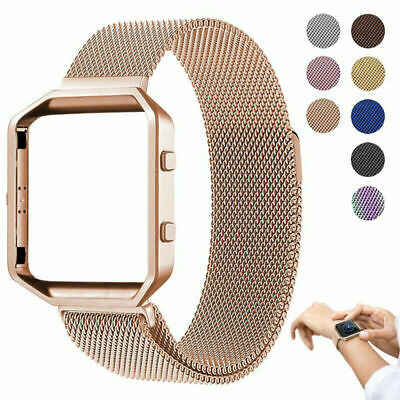 Replacement Stainless Steel Loop Strap Wrist Band+Frame for Fitbit Blaze (Stainless Steel Frames)