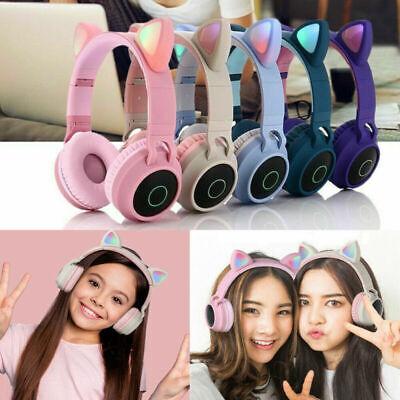Wireless Cat Ear Headphone Bluetooth Headset LED Light Up Earphone Kids Children