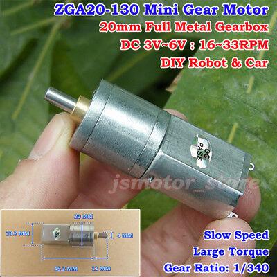 Dc 3v6v 5v 27rpm Mini 20mm Full Metal Gearbox Gear Motor Large Torque Diy Robot