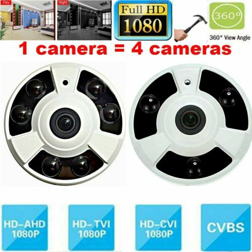 4PCS 2MP HD 1080P AHD Security Camera 1.4mm 360D Fisheye IR TVI CVI CVBS 4 In 1