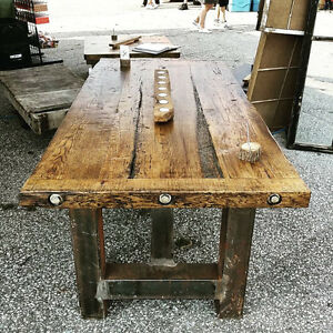 Desk Made from steel 4x4s and reclaimed wood