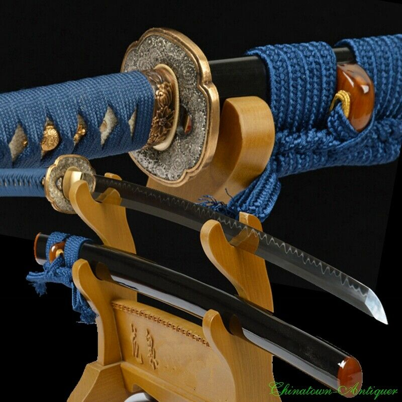 T10 Steel Full Tang Blade w Clay Tempered Japan Sect Samurai Sword Katana #2363