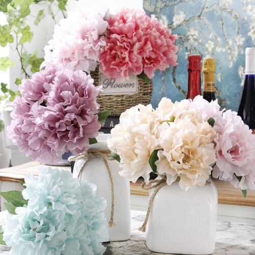 Home Decoration - 5 Head Bouquet Artificial Silk Fake Large Peony Flower Wedding Party Home TA