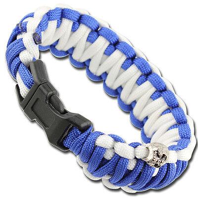 Unisex Paracord  Skullz Survival Military Multi Use Bracelet- Blue & White