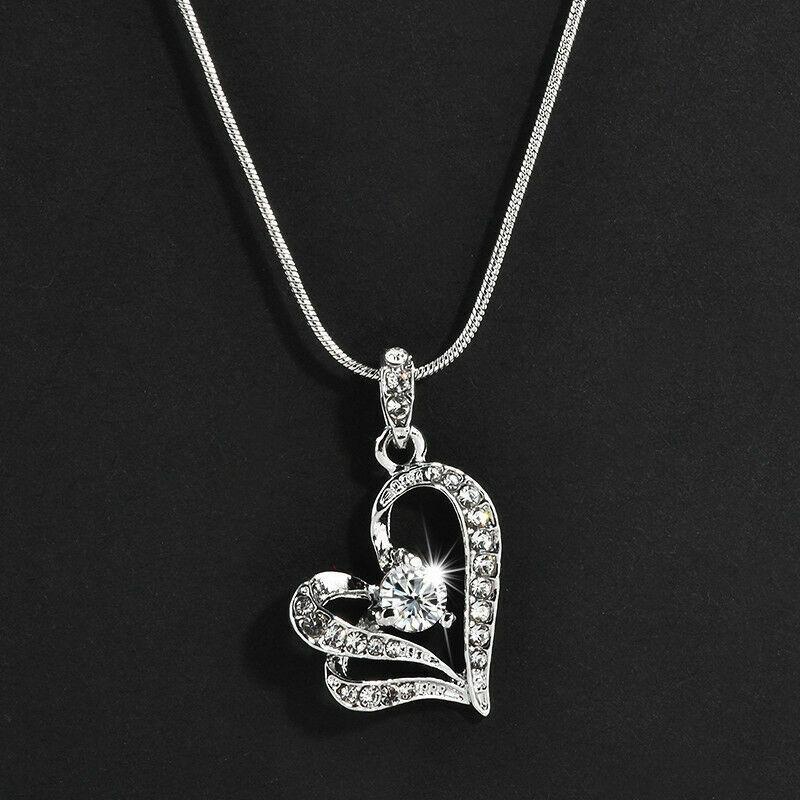 Jewellery - 925 Sterling Silver Heart Swirl Pendant Chain Necklace Womens Jewellery Uk