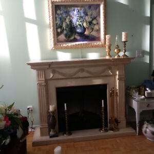 Electric Fireplace with mantel.