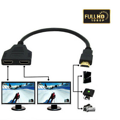 2-Way HDMI Cable Splitter Full HD 1080P 1 In 2 Out Adapter Hi-Definition Direct.