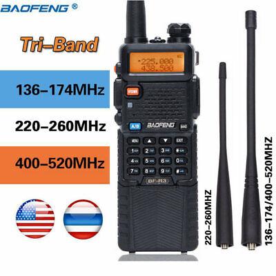 BaoFeng BF-R3 Tri-Band 3800mAh 2x Antenna Long Range Two Way Radio Walkie Talkie