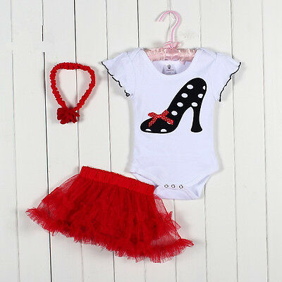 New Baby Girl Baby Girls Clothing Set 3PCS: headband+shirt+pant Princess Red