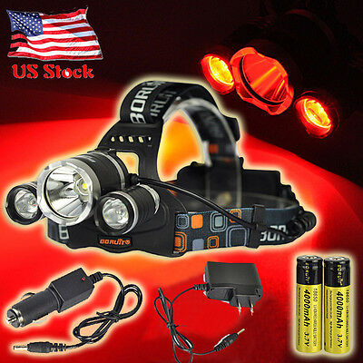 BORUiT Headlamp 10000LM 3x XM-L T6+2R5 Red LED Headlight Torch+18650+Car Charger