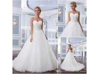 Lillian West size 6 strapless ivory A-line tulle Wedding Dress with chapel train & beaded waist