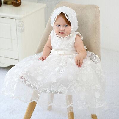 Taufe Motorhaube (Baby Stickerei Spitze Kleid Blüten Taufe Geburtstag Morgenmantel mit Motorhaube)