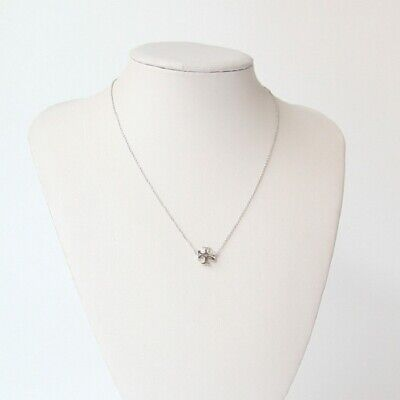 AUTH BNWT Tory Burch SILVER Kira Pendant Necklace