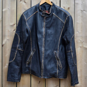Danier Distressed Leather Motorcycle Jacket, Men's Size 40