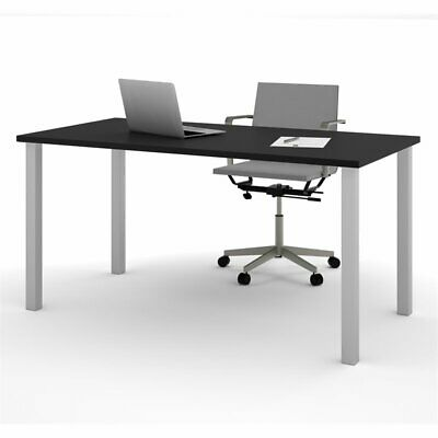Bestar 30 X 60 Work Table With Square Legs In Black And Silver