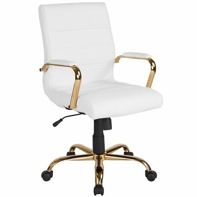 Flash Furniture Mid Back Leather Swivel Office Chair in Whit