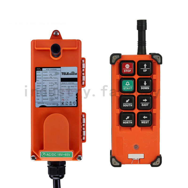 Wireless Remote Control Industrial Transmitter Receiver Hoist Crane Lift 6 Keys