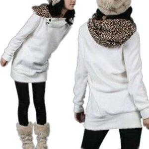 1 veste pull over l opard femme sport manche longue blanc taille unique e03749 ebay. Black Bedroom Furniture Sets. Home Design Ideas