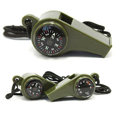 3 in1 Whistle Compass Thermometer Outdoor Hiking Camping Emergency Survival Gear