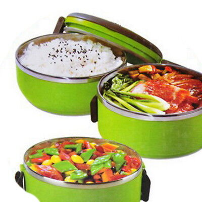 - New Bento Stainless Steel Food Container Lunch Box 1/2/3 Layer Outdoor Protable