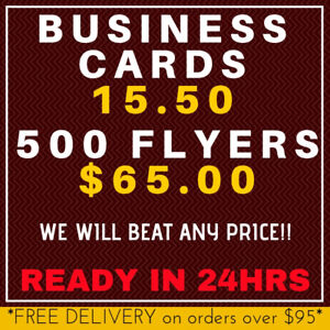 Business Cards, Flyers, Postcards Same Day Rush Printing 4-24Hr