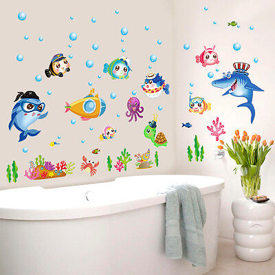 Wandtattoo Kinderzimmer Fisch Hai Nemo Aquarium Meer Wasser Krabbe Krebs Sticker