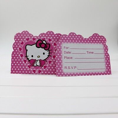 Hello Kitty Birthday Party Invitations - Hello Kitty Anime Girl Boy Birthday Party Invitations 10 pieces Kids New!
