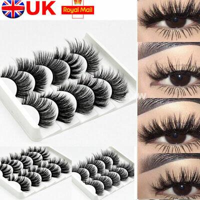 5 Pairs  Mink False Eyelashes Long Thick Natural Fake Eye Lashes Set Makeup UK