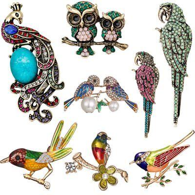 Crystal Peacock Bird - Parrot Bird Owl Peacock Animal Pearl Crystal Shell Women Brooch Pin Jewelry New