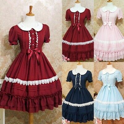 Women Lolita Retro Sweet Collage Style Cosplay Pretty Ball Gown Plus Size -