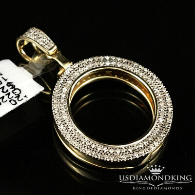 10K Yellow Gold .31c Genuine Diamond Picture Memory Frame Medallion Pendant 20mm Yellow Gold Round Picture Pendant