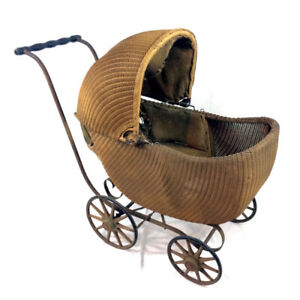 Antique Gendron Baby Carriage Wicker Stroller Buggy Early 20th