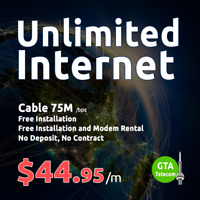 44.95$ Unlimited Internet Download Speed 75Mbps GTA Telecom