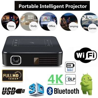 5000Lumens DLP Android 7.1 Wifi 4K HD 1080P TOUCH Projector HDMI 2G 16G HDMI US