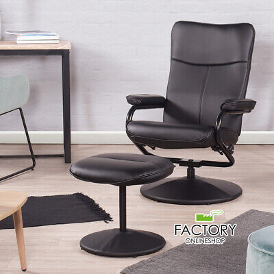 Recliner Chair Black Leather High Back Comfort Sofa Swivel w/ Footrest Ottoman