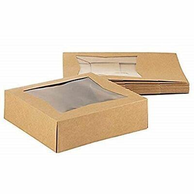 "10 Brown Kraft Paperboard Pop-Up Window Box, Pastry & Cake Bakery, 8""x8""x2.5"""