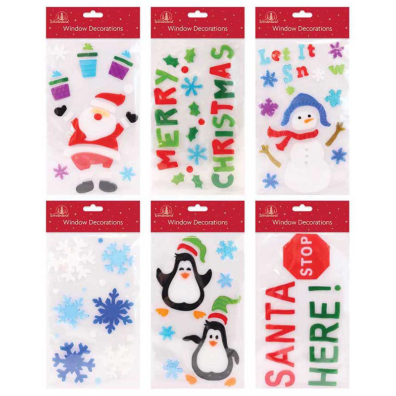 Home Decoration - Christmas Window Stickers Xmas Santa Removable Gel Decal Wall Home Shop Decor