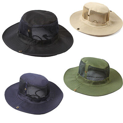 Mens Outdoor Camping Fishing Caps Sun Protection Boonie Hat Wide Brim Pure Color