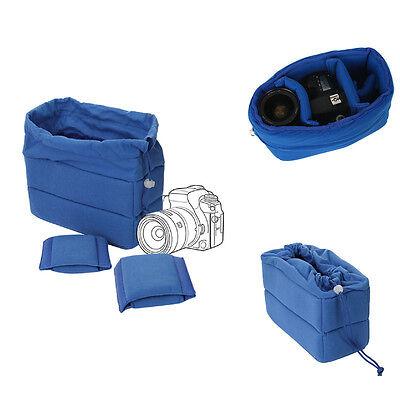 Shockproof DSLR SLR Camera Bag Partition Padded Insert Soft Protection Case Blue