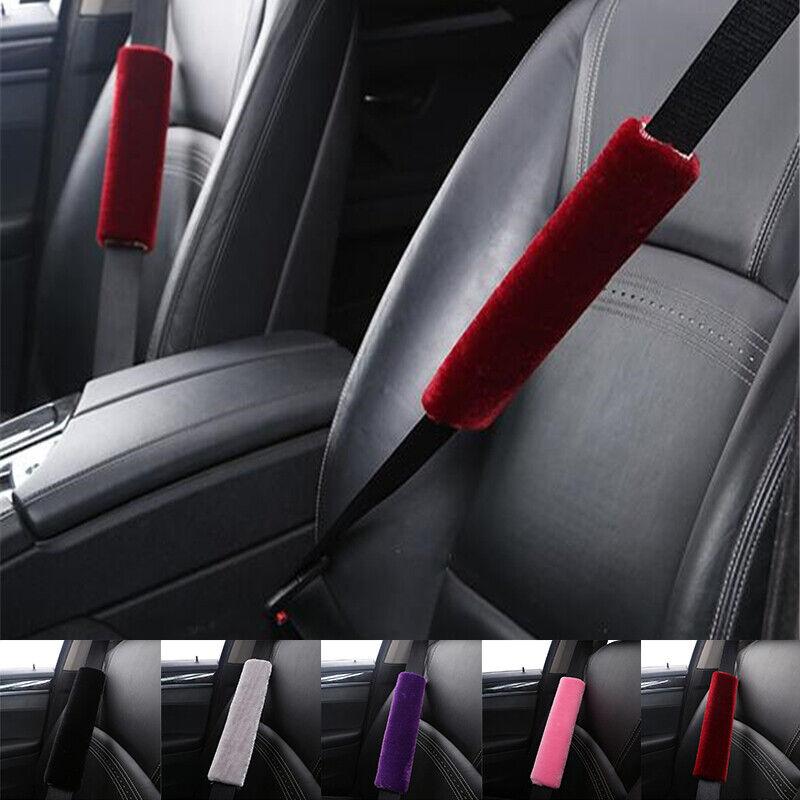 2PCS Car Plush Fluffy Safety Seat Belt Cover Harness Shoulder Soft Cushion Pad