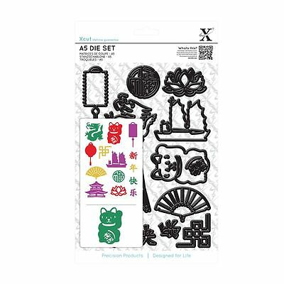 Docrafts Xcut A5 Chinese New Year 14 Pc Die Set Dragon Cat Pagoda Fan Lantern