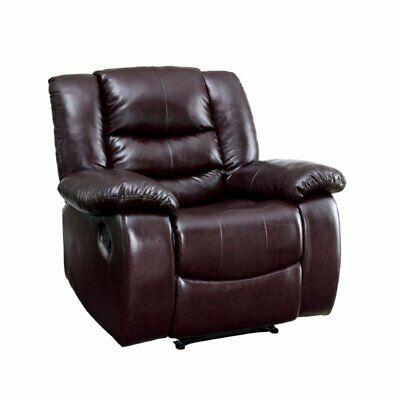 Furniture of America Torrance Faux Leather Recliner in Brown