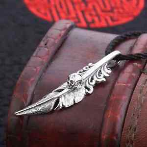 new 925 sterling silver skull feather pendant