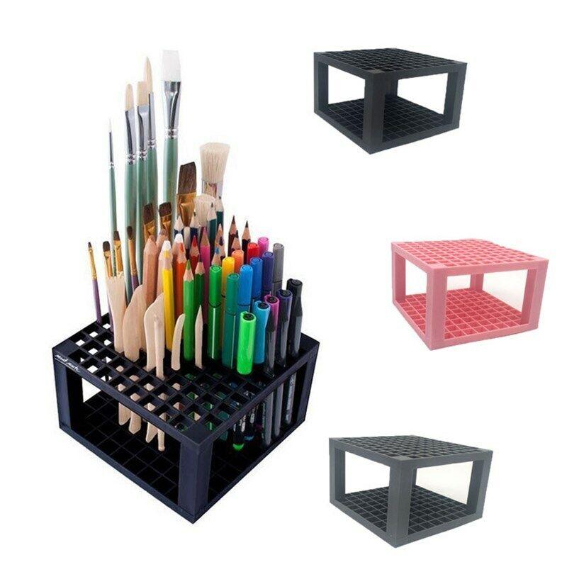 96 Holes Pencil Brush Holder Stand Plastic Artist Desk Organizer Paint Marker