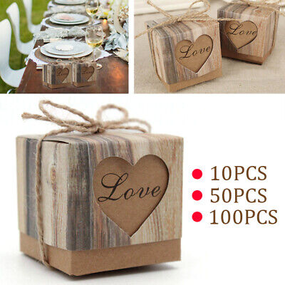 Rustic Favor Boxes (Luxury Rustic Wedding Party Favor Love Heart Candy Box Sweet Cake Gift)