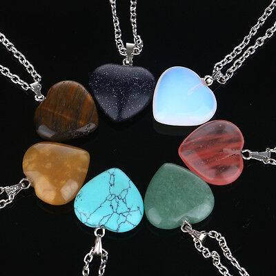 Natural Quartz Stone Gemstone Heart Rock Healing Point Chakra Pendant Necklace Gemstone Heart Necklace