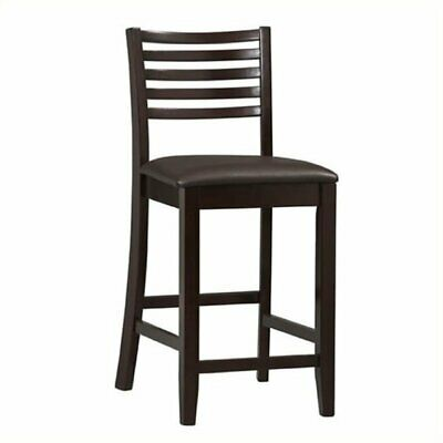"Hawthorne Collection 24"" Faux Leather Counter Stool in Rich Espresso"