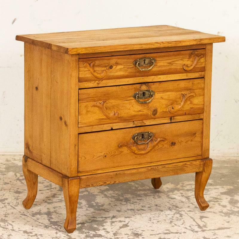 Antique Pine Nightstand On Cabriolet Feet