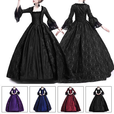 Women Halloween Costume Victorian Renaissance Long Dress Witch Medieval Cosplay (Victorian Costume Women)